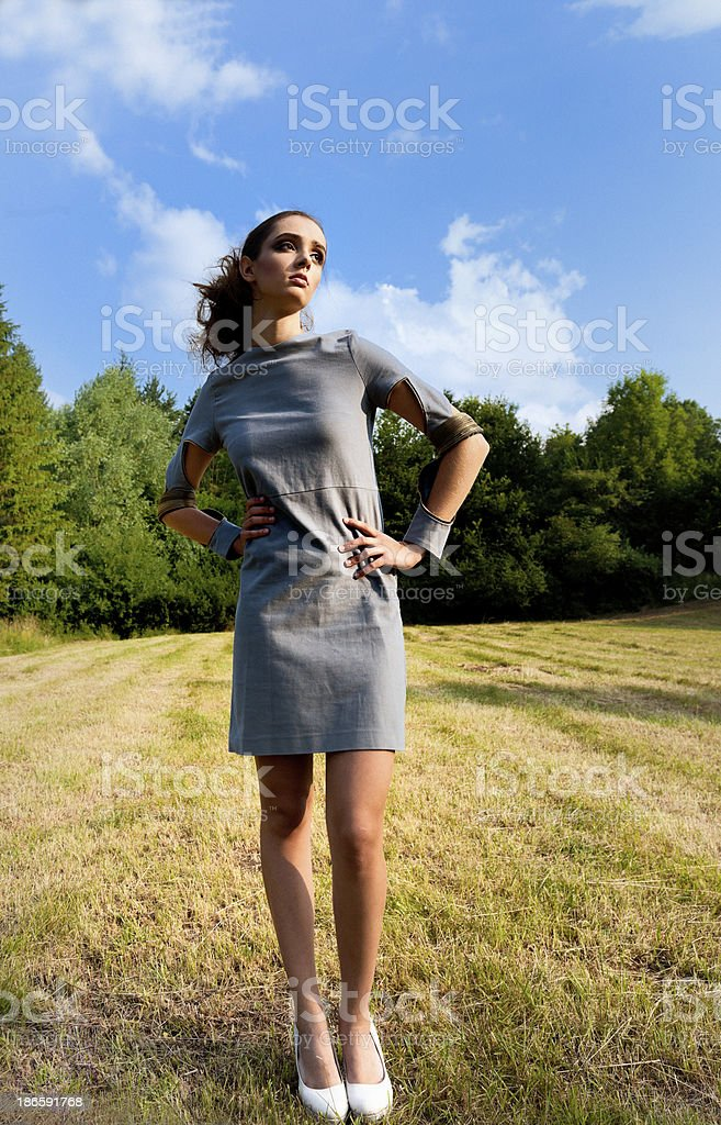 fashion model posing on meadow royalty-free stock photo