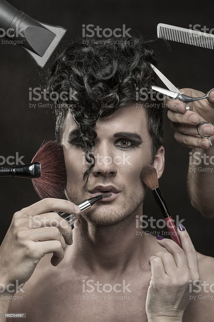 Fashion model preparation royalty-free stock photo