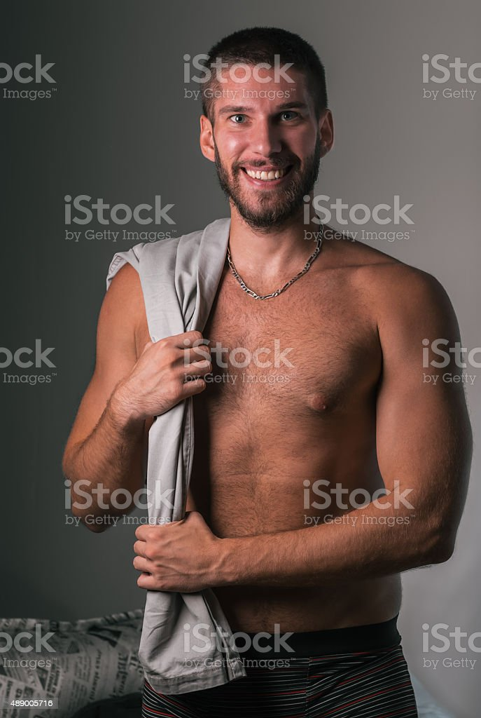 Fashion model shirtless royalty-free stock photo