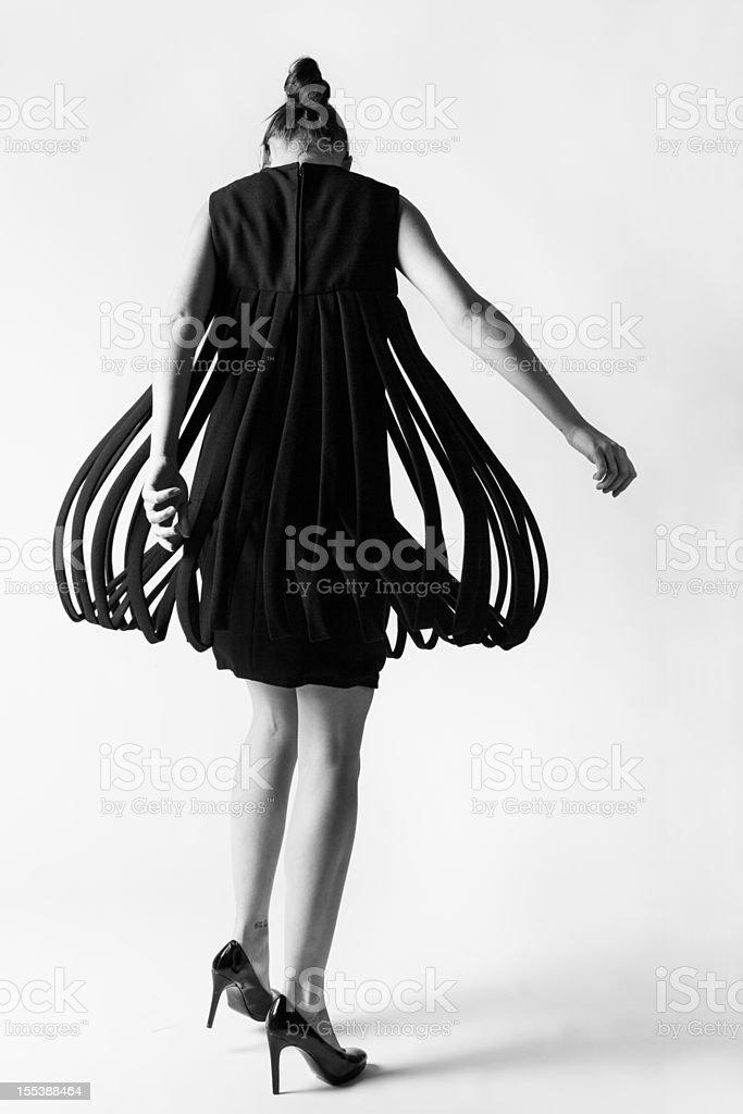 Fashion model twirling stock photo