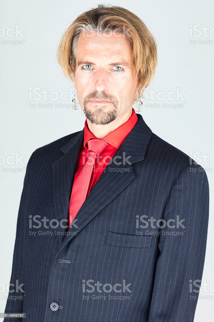 Fashion Model Wearing A Pinstripe Suit stock photo