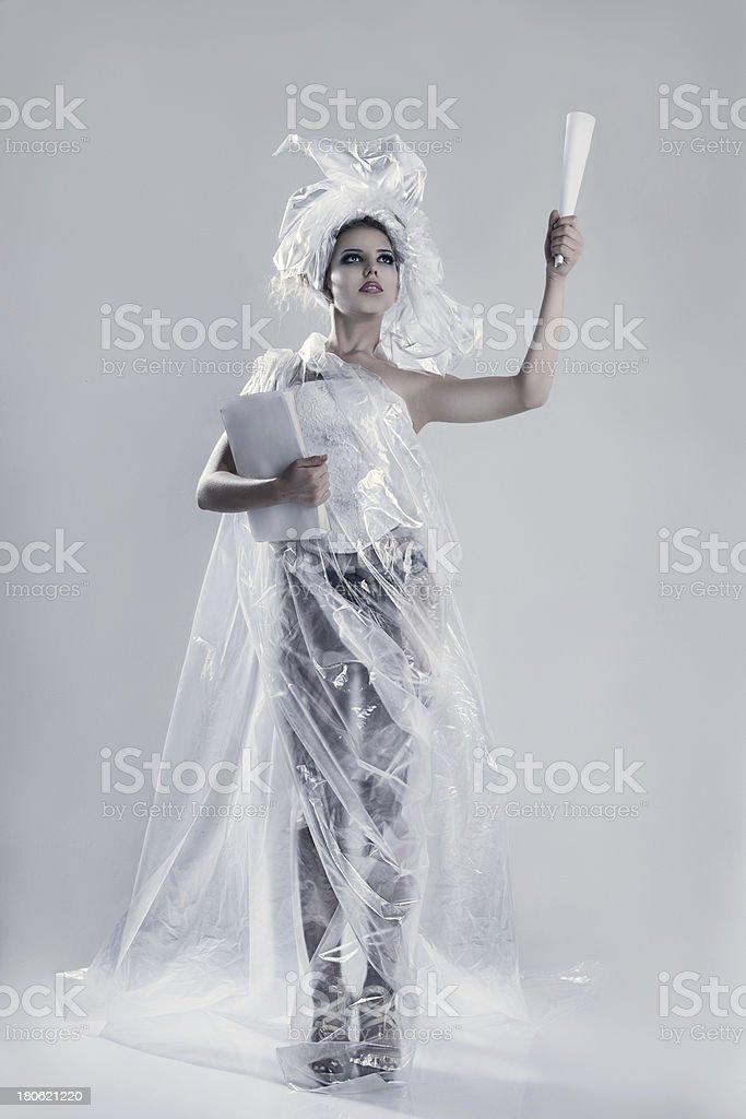 Fashion model wearing in polyethylene dress royalty-free stock photo