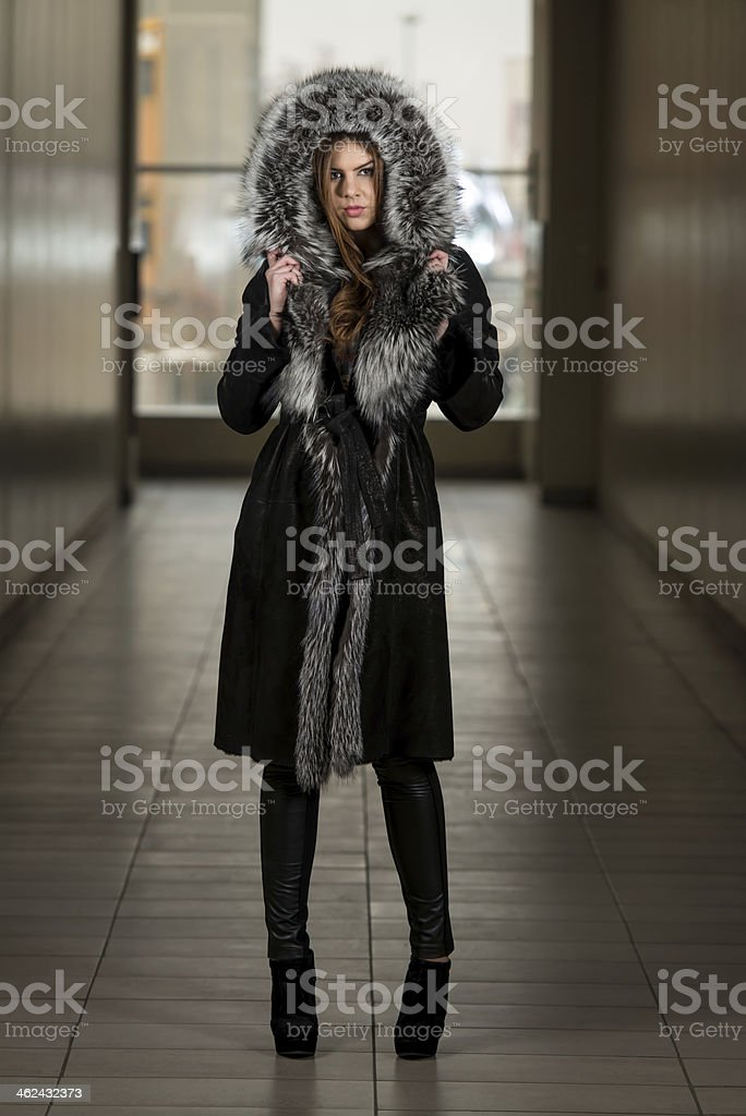 Fashion Model Wearing Long Fur Coat royalty-free stock photo