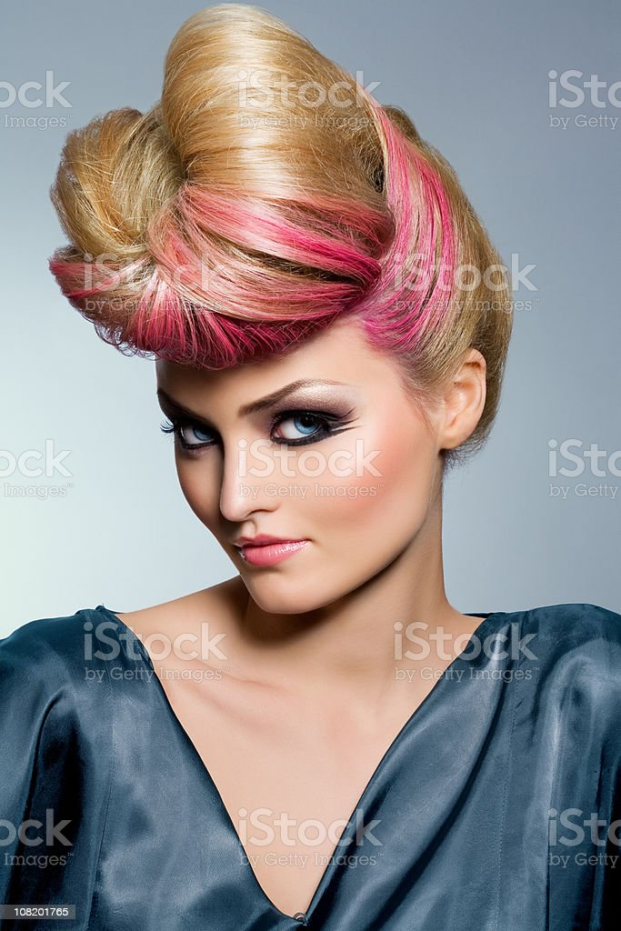 Fashion Model with Big Hair royalty-free stock photo