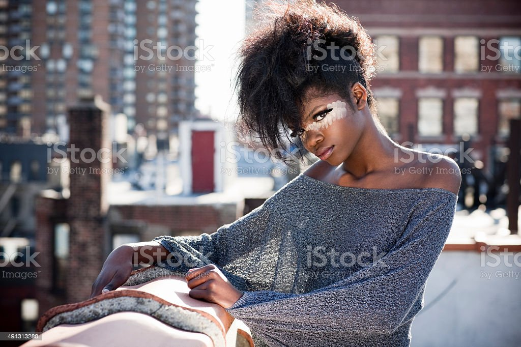 Fashion Model with Cool Makeup and Big Hair stock photo