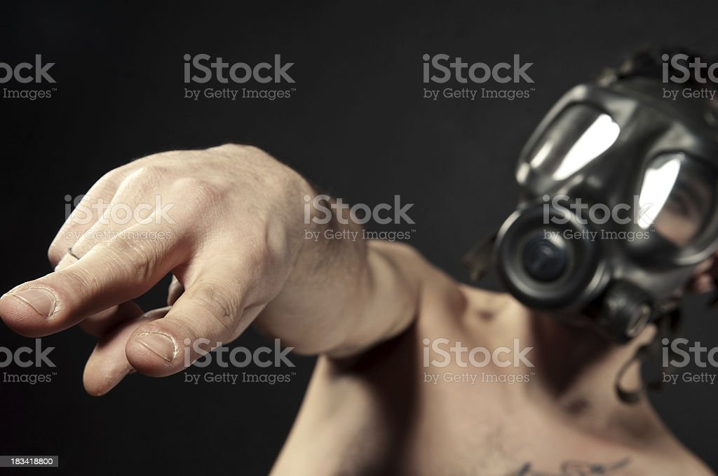 Fashion model with gas mask stock photo
