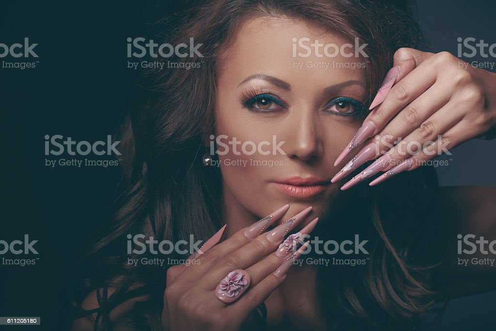 fashion model with glam manicure stock photo