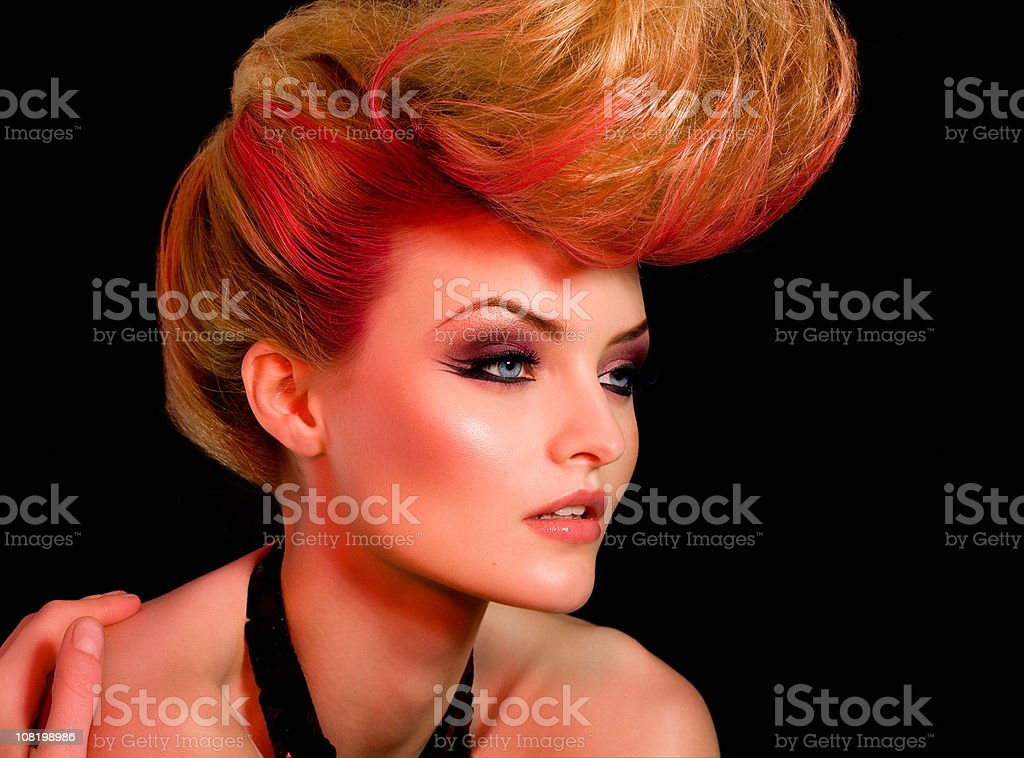 Fashion Model with Large Hair royalty-free stock photo