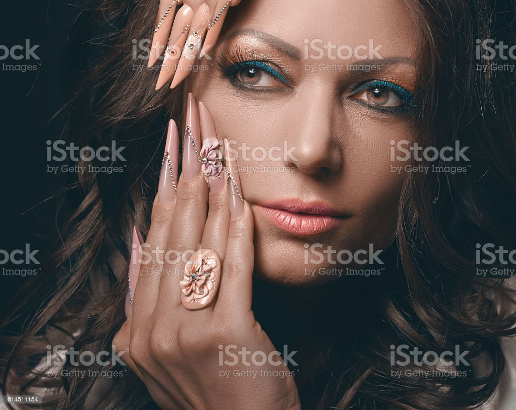 fashion model with manicure stock photo
