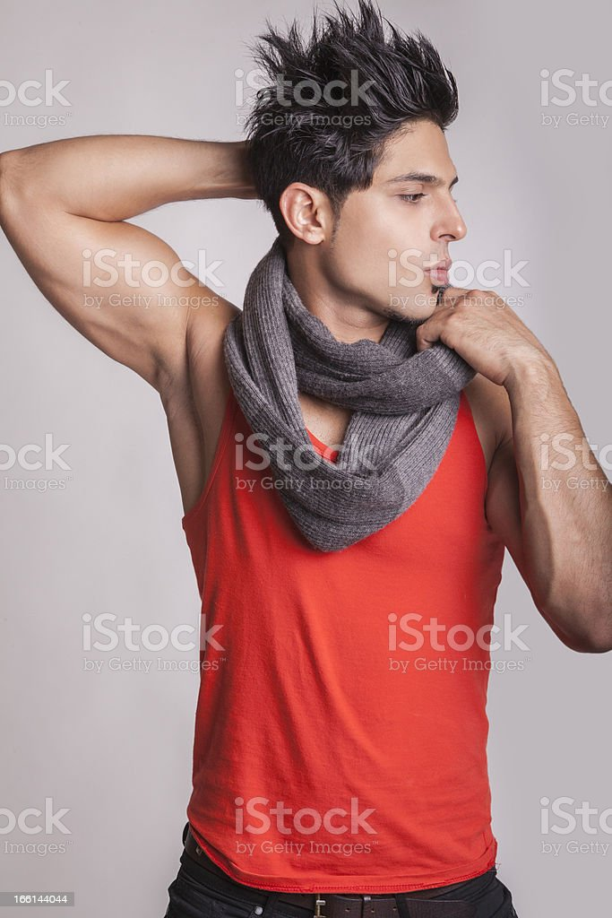 Fashion model with scarf looking to left side royalty-free stock photo