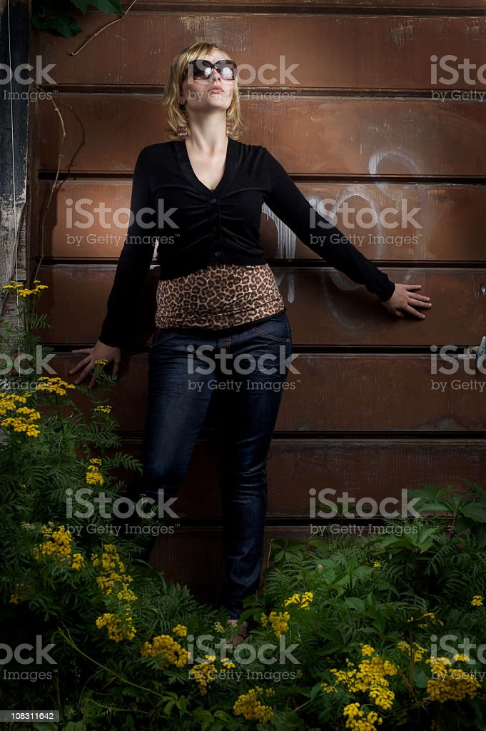 Fashion model with sun glasses royalty-free stock photo