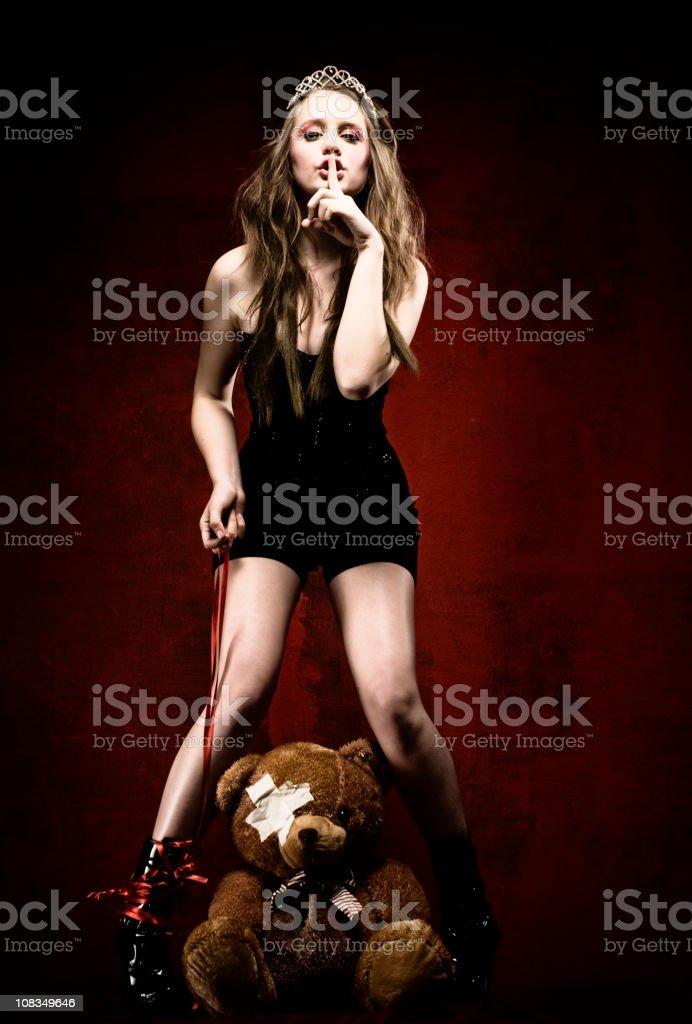 Fashion model with teddy bear royalty-free stock photo