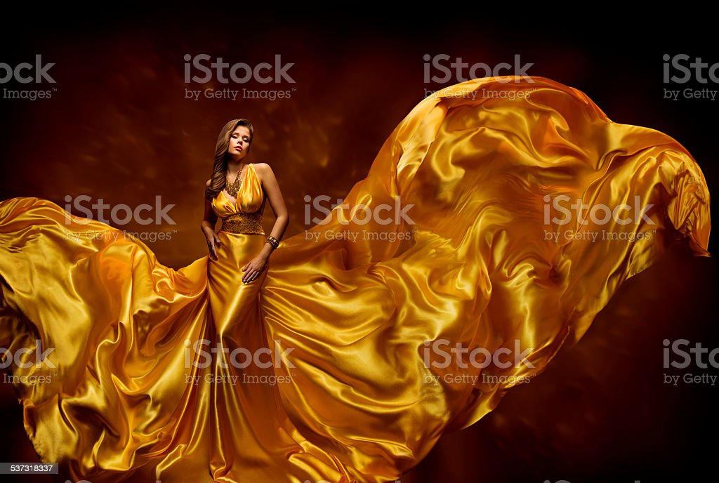 Fashion Model Woman Dress, Fluttering Silk Beauty Gown, Waving Fabric stock photo