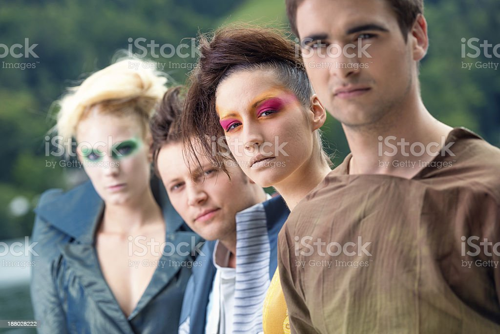 Fashion models in a row royalty-free stock photo