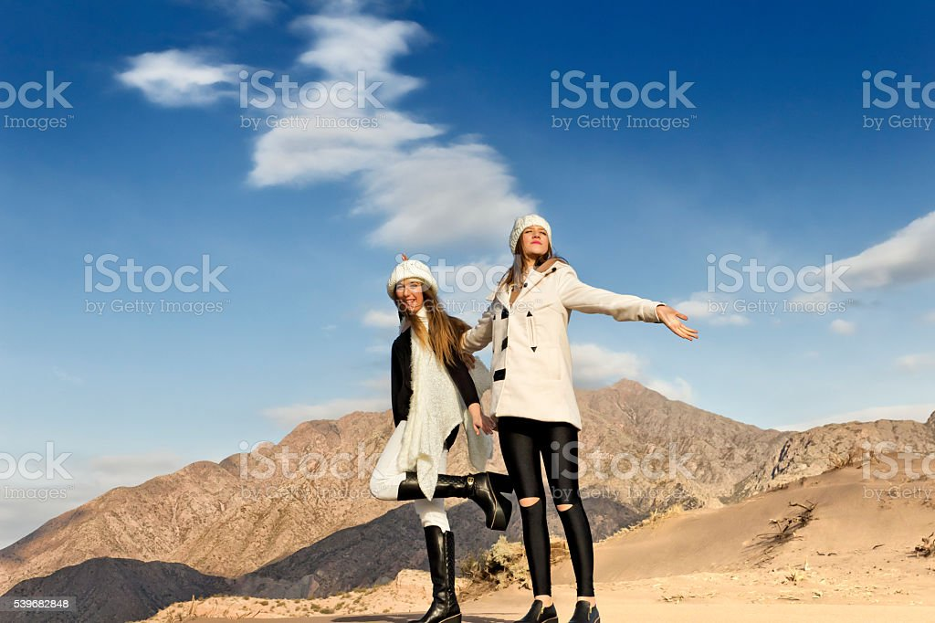 Fashion models in dunes stock photo