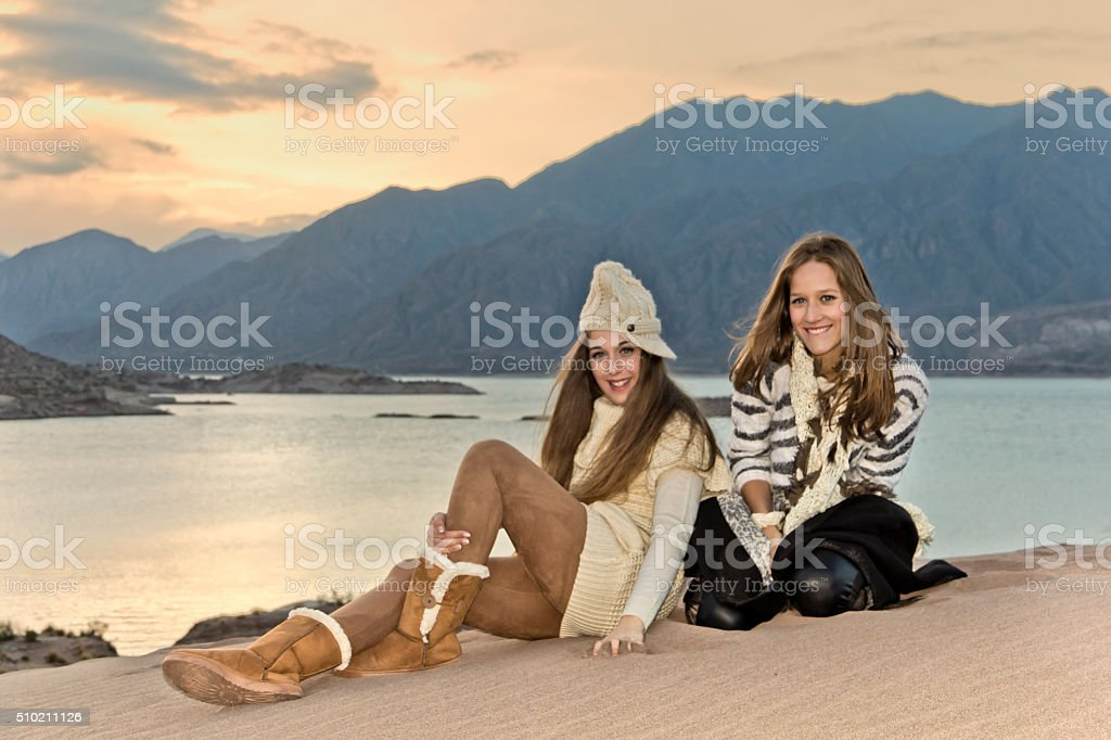 Fashion models in the lake stock photo