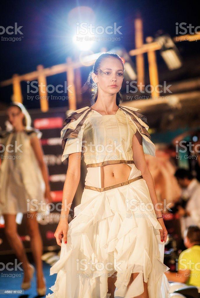 Fashion models on catwalk stock photo