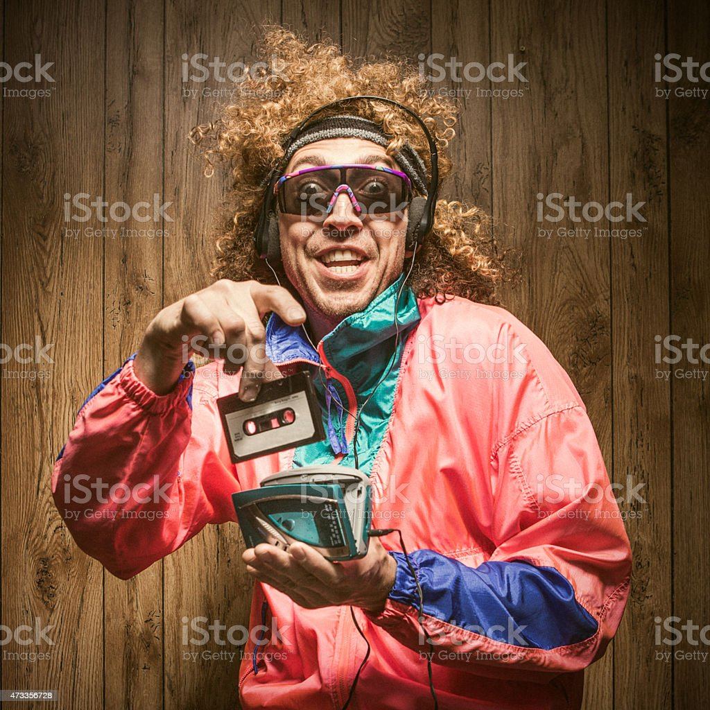 Fashion of Nineteen Eighties and Nineties with Walkman stock photo
