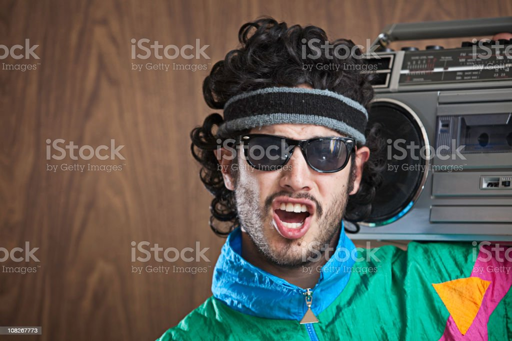 Fashion of the 1980's & 90's With Boombox stock photo
