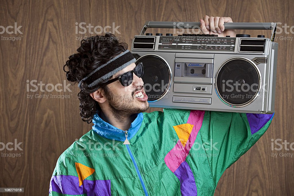 Fashion of the 1980's & 90's With Boombox royalty-free stock photo