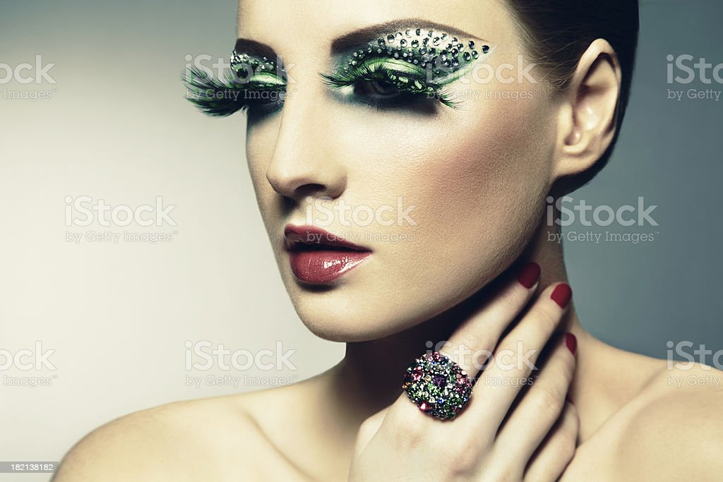 Fashion photo of a young woman with long eyelashes stock photo