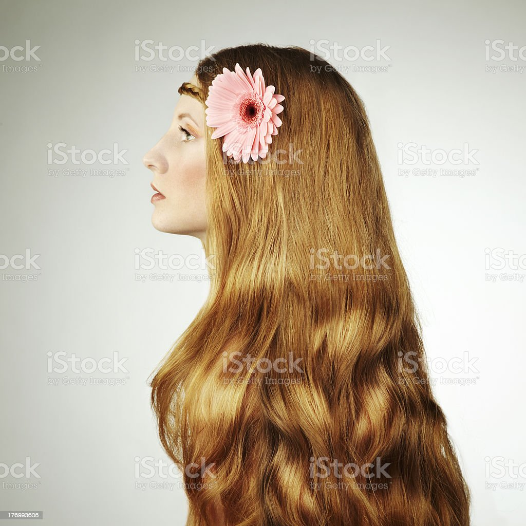 Fashion photo of a young woman with red hair royalty-free stock photo