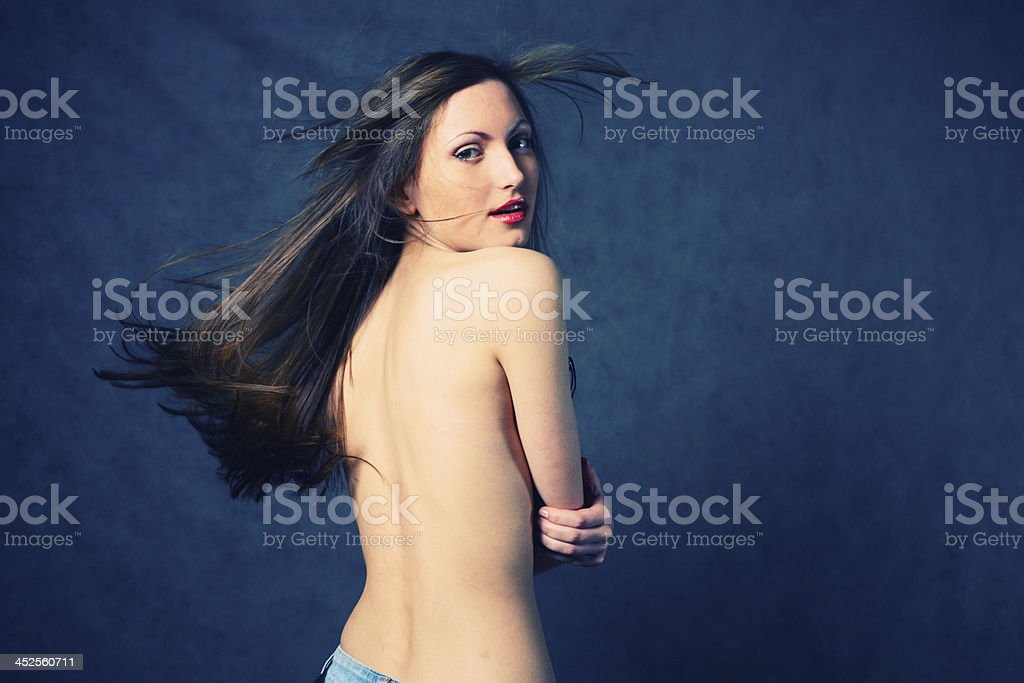 Fashion photo of beautiful seminude woman royalty-free stock photo