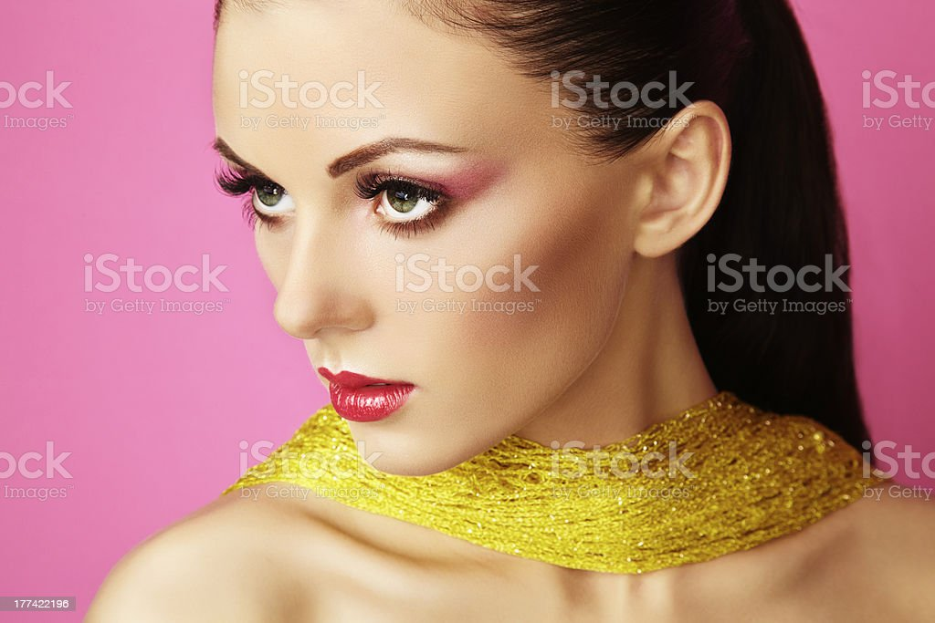Fashion photo of  beautiful woman on  pink background royalty-free stock photo