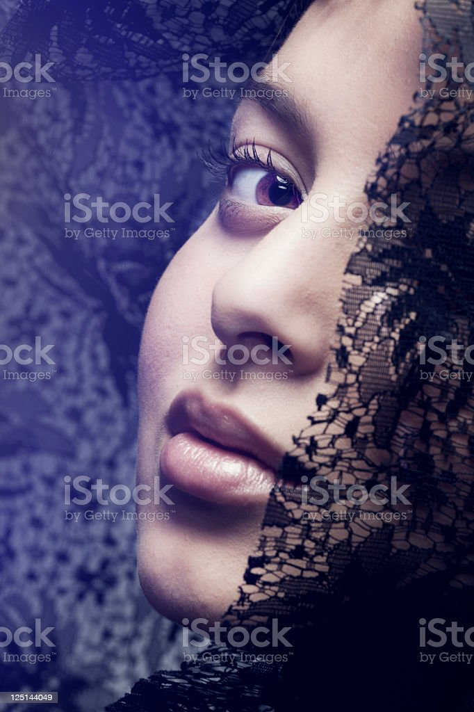 Fashion photo of beautiful woman with black veil. Brightly Lit royalty-free stock photo