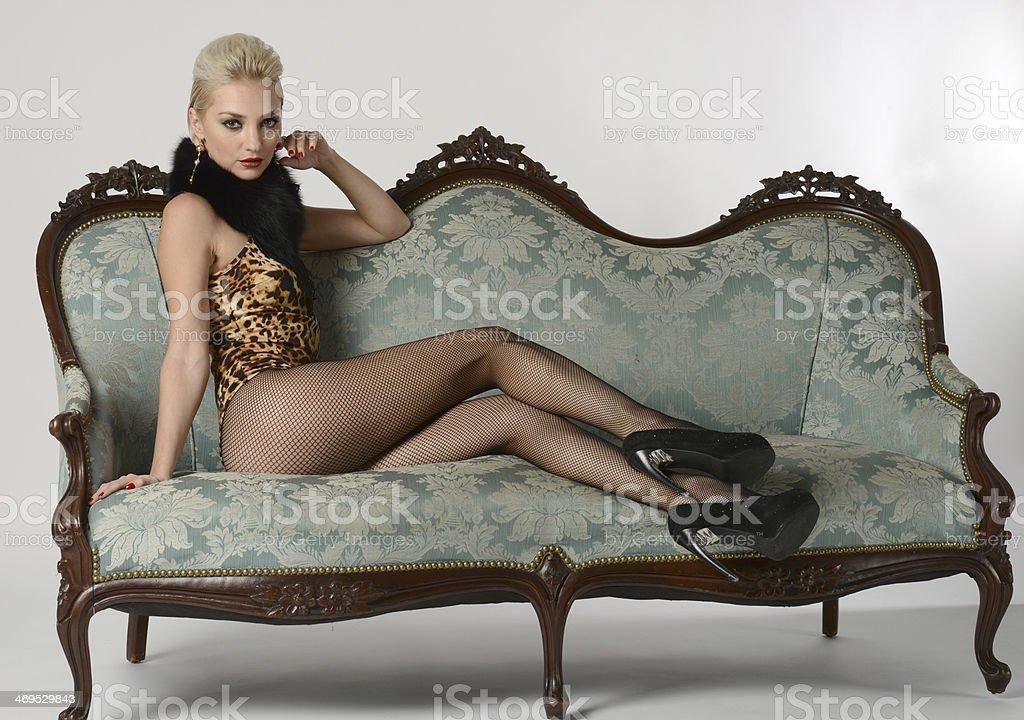Fashion photo of beautiful young blond girl stock photo