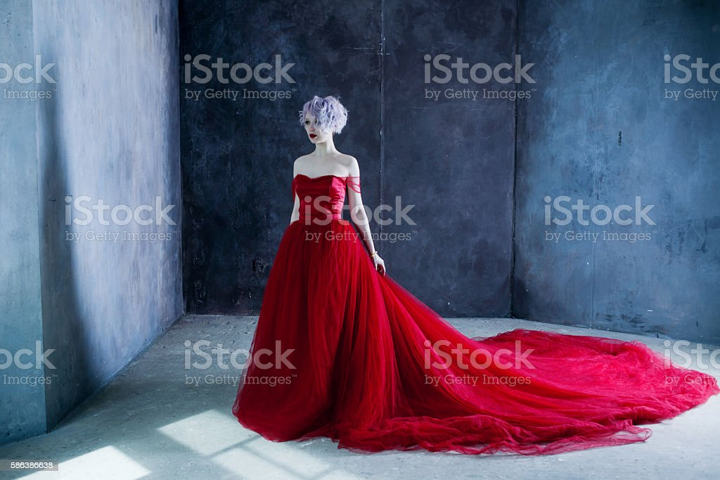Fashion photo of young magnificent woman in red dress. Textured stock photo