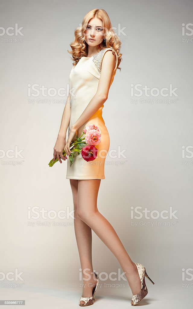 Fashion photo of young magnificent woman stock photo