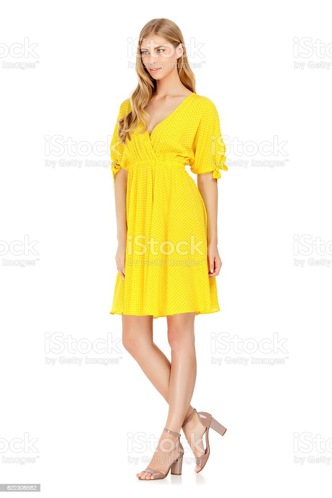 Fashion photo of young magnificent woman wearing dress stock photo