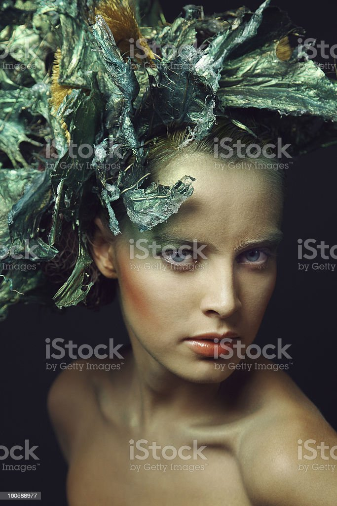 Fashion Portrait. Air brush make up. royalty-free stock photo