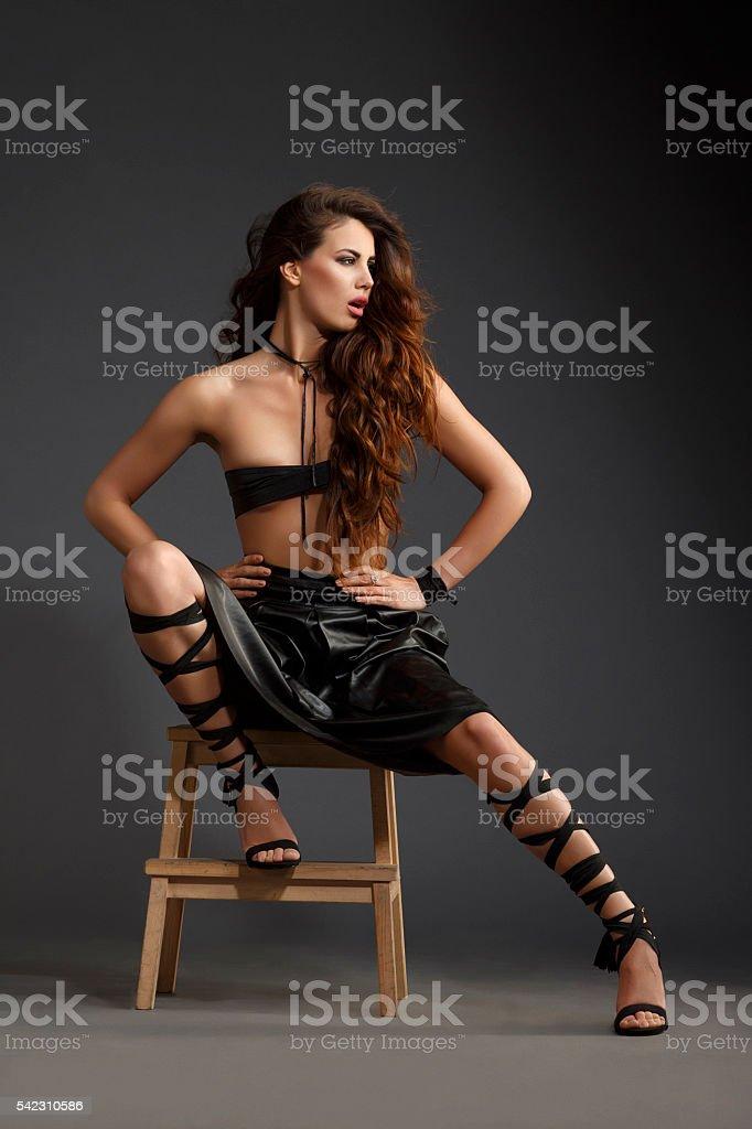 Fashion portrait  Beautiful  Young women dressed elegantly stock photo