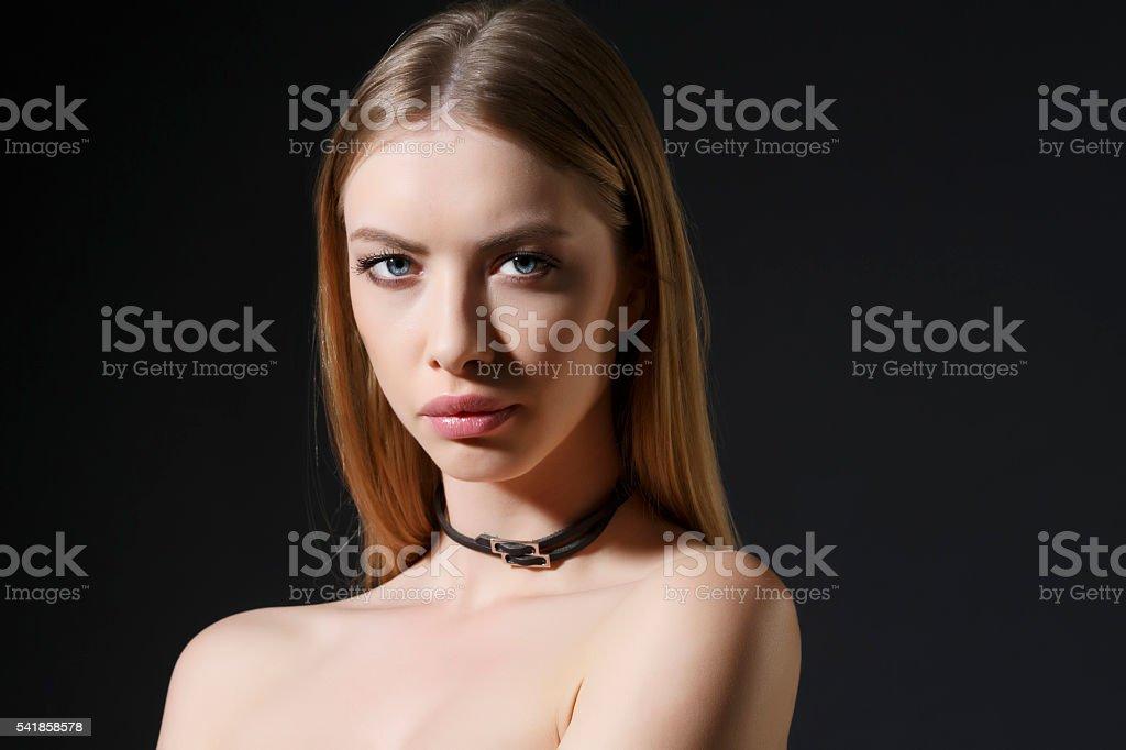 Fashion portrait  Beautiful  Young women Wearing choker necklace stock photo