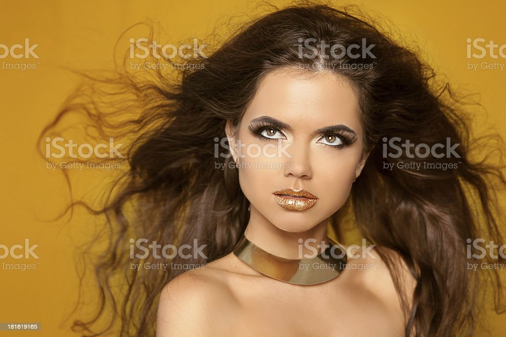 Fashion Portrait. Beauty Woman with Very Long Healthy and Shiny royalty-free stock photo