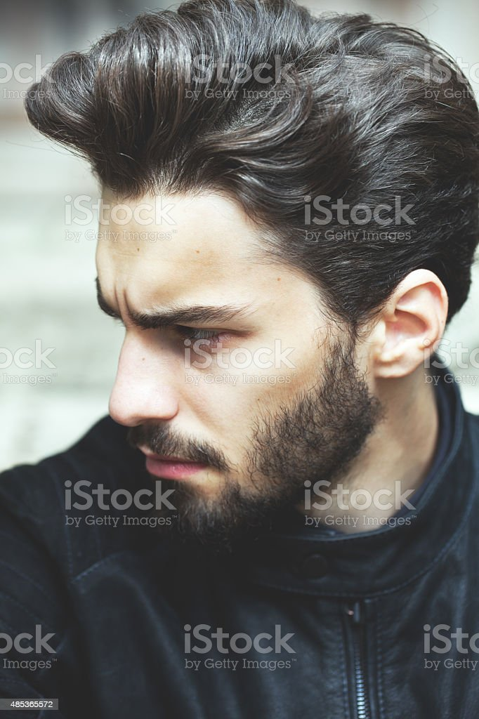 Fashion portrait of a handsome bearded man stock photo