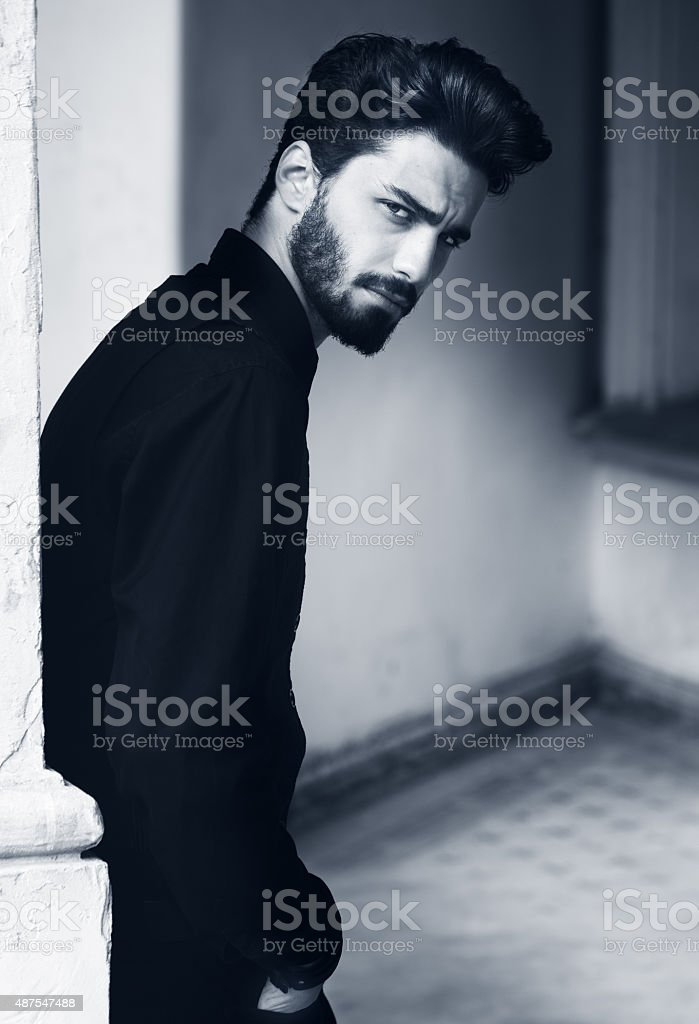 Fashion portrait of a handsome bearded man. stock photo