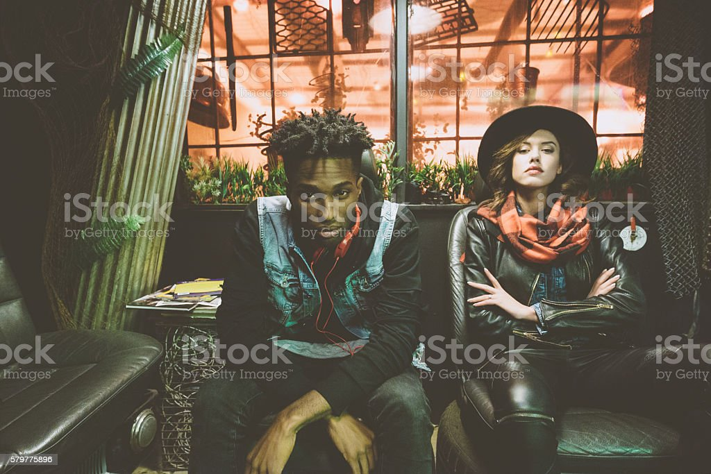 Fashion portrait of afro american guy and beautiful woman stock photo