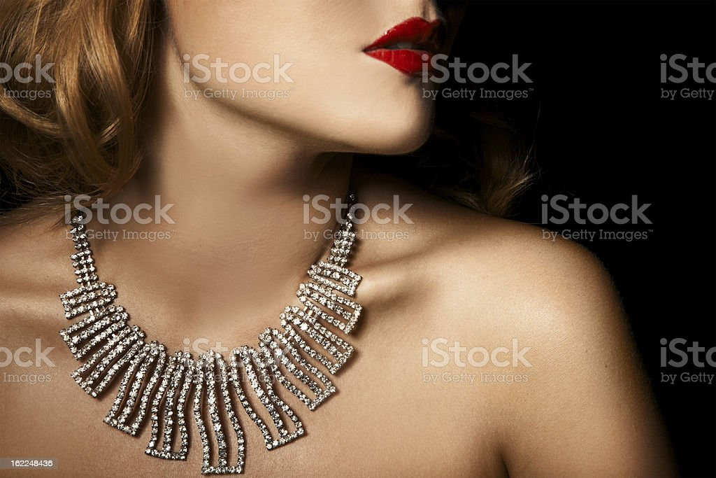 Fashion Portrait Of Beautiful Luxury Woman With Jewelry stock photo
