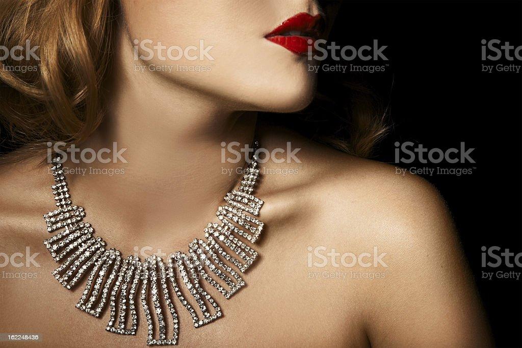 Fashion Portrait Of Beautiful Luxury Woman With Jewelry stock photo