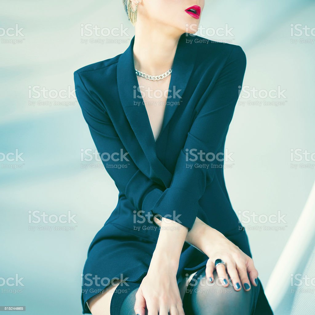 fashion portrait of beautiful sensual woman stock photo