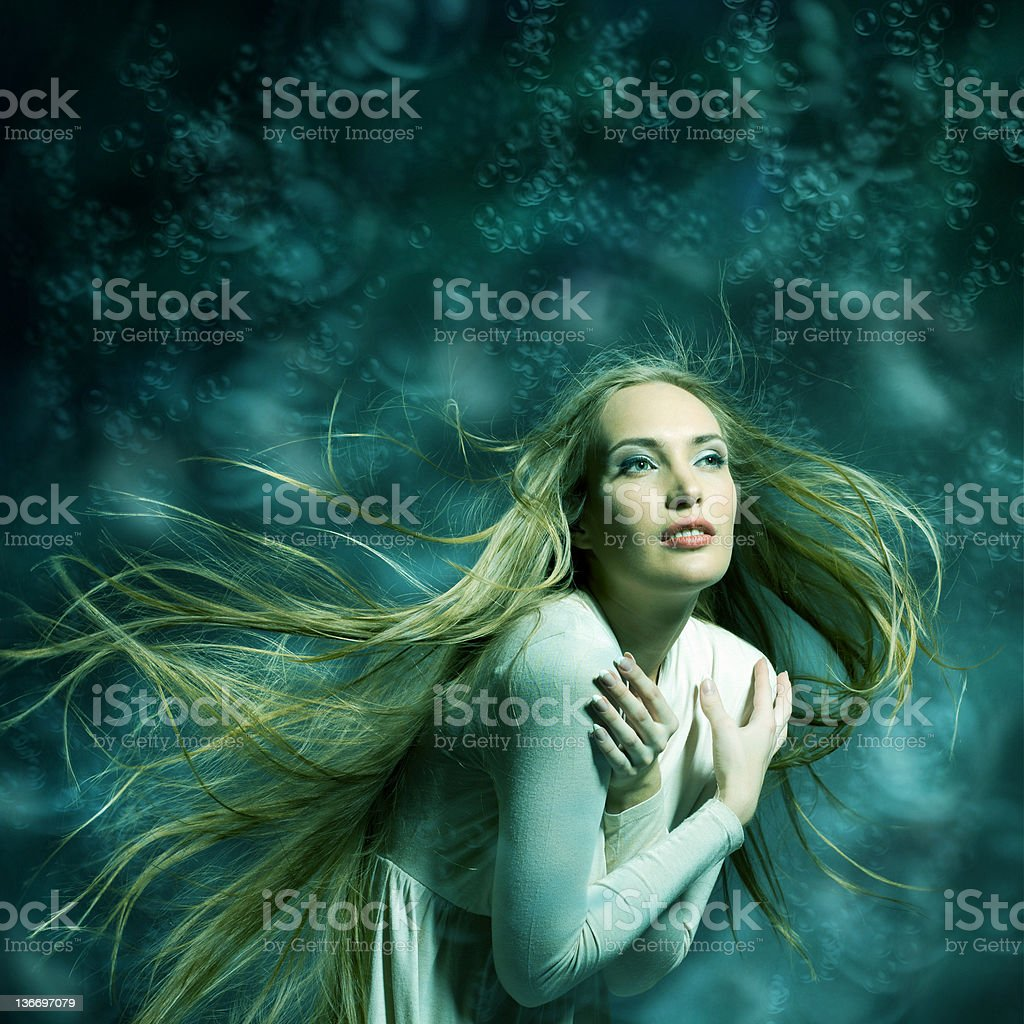 Fashion portrait of beautiful woman posing on bright illustrated background royalty-free stock photo