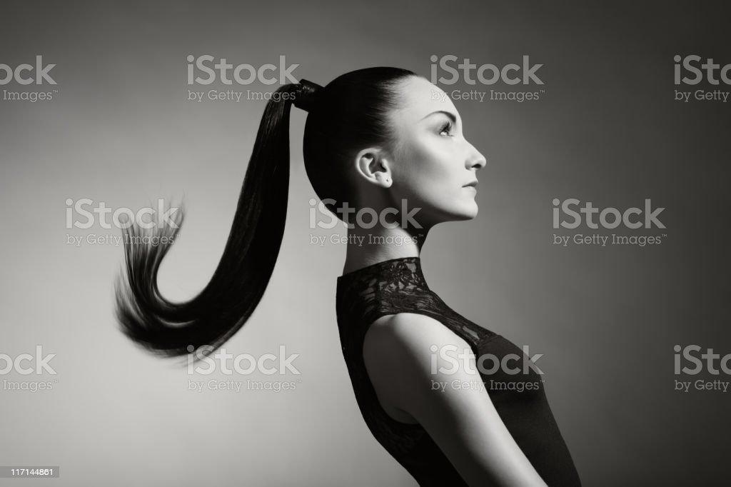 Fashion portrait of beautiful woman with ponytail stock photo