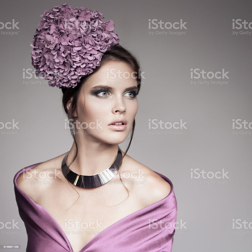 Fashion Portrait Beautiful Woman With Violet Flower Hydrangea