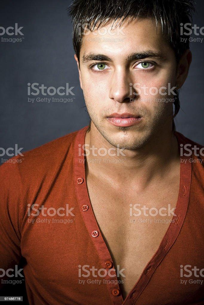 Fashion portrait of handsome sexy man stock photo