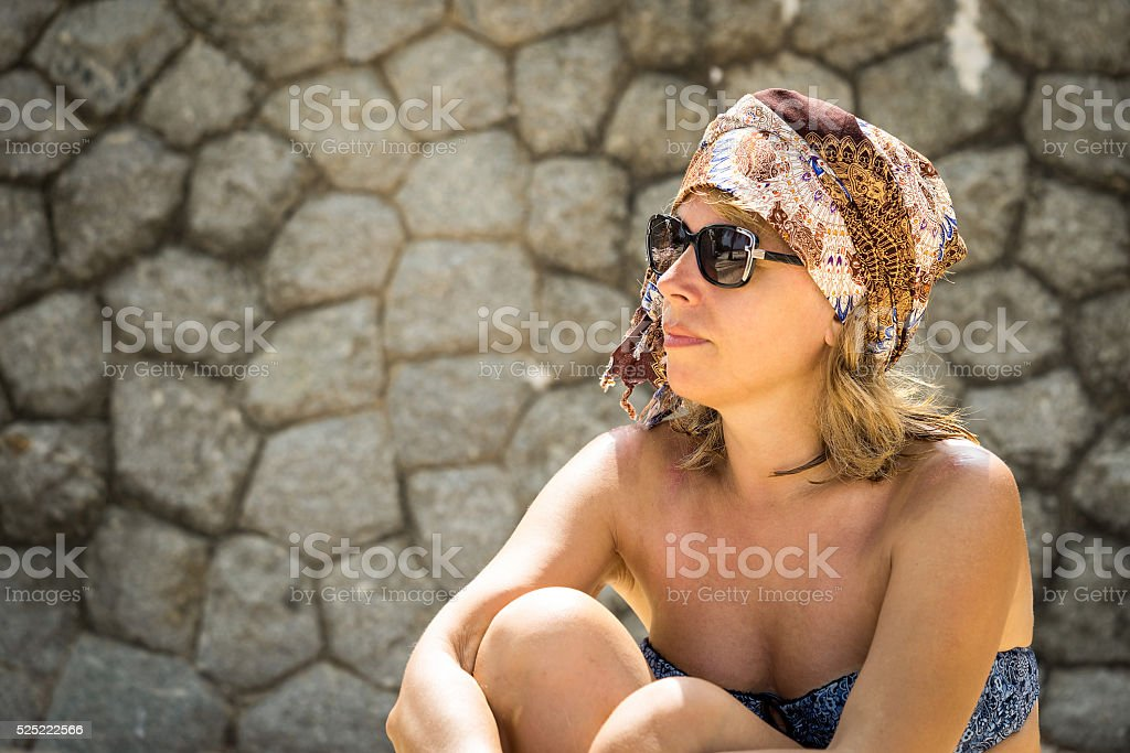 Fashion portrait of middle age hipster woman stock photo
