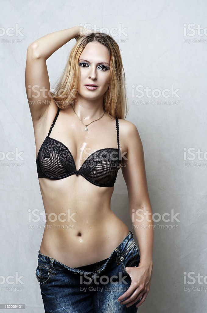 Fashion portrait of sexy underwear model. royalty-free stock photo