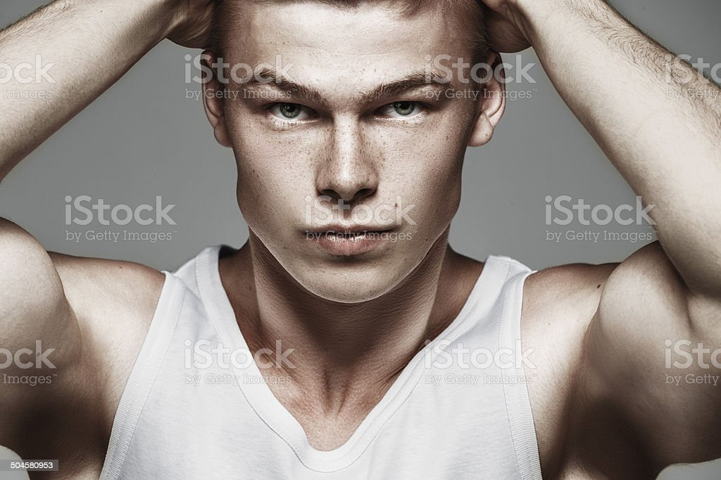 Fashion portrait of young man stock photo